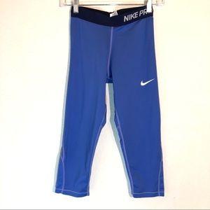 Nike Pro Blue Capri Leggings Girl's Size XL